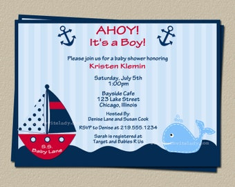 Digital Nautical Baby Shower Invitation, Red Whale and Boat Invite, Digital File, Print Yourself, DIY, Fast Delivery