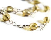 Citrine Line Bracelet, Faceted Citrine Balls with Sterling Silver Chain