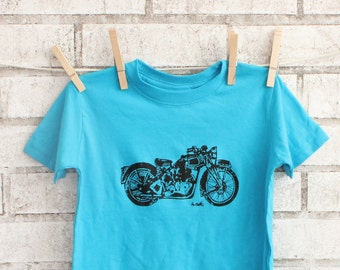 Motorcycle Toddler T Shirt, Cotton Crewneck, Children's Graphic Tee, Turquoise Tshirt