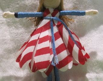 Striped Flower Fairy - Small Fairy Doll - Waldorf Doll - Gerber Daisy - Patriotic doll - Forth of July