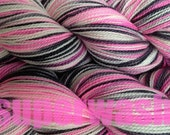 Fingering Weight Handpainted Sock Yarn in Me Too Superwash Hand Dyed Pink White Black