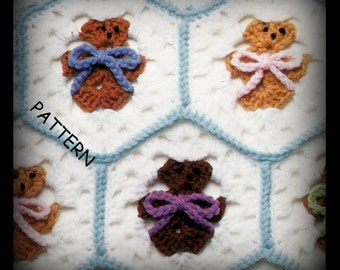Crochet Afghan Pattern - Teddy Bears - Baby Afghan - PDF 03178819 - Best Seller