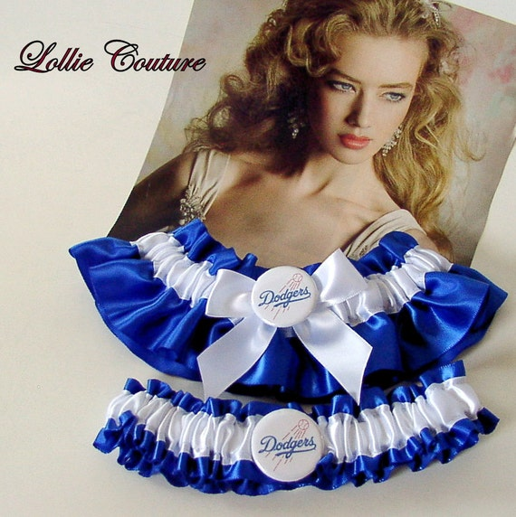 Couture Garters For Wedding: Items Similar To Dodgers Garter, Couture Wedding Garter