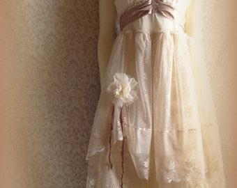 "MadeToOrder ..""Rebecca"" Rustic   Beach  Shabby French Champagne  Blush Tea Ivory Cream Vintage Inspired  Wedding Dress Altered Slip"