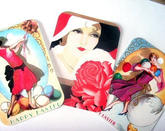 Art Deco Tags - 1920's Ladies  - Set of 9 - Fashionable Ladies - Flapper Tags - Thank Yous - Fashion Tags - Gift Tags - Beautiful Flappers