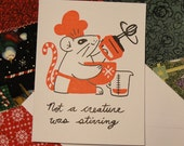 Gocco Printed Christmas Mouse Cards (Set of 5)