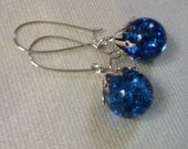 Fried marble earrings - Sapphire blue shattered glass marbles  -  up-cycled into beautiful dangly drop earrings