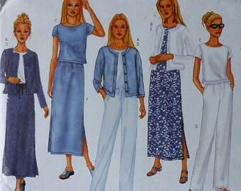 Casual Wardrobe Sewing Pattern UNCUT Butterick 6474 Sizes 6-10 jacket top dress skirt pants
