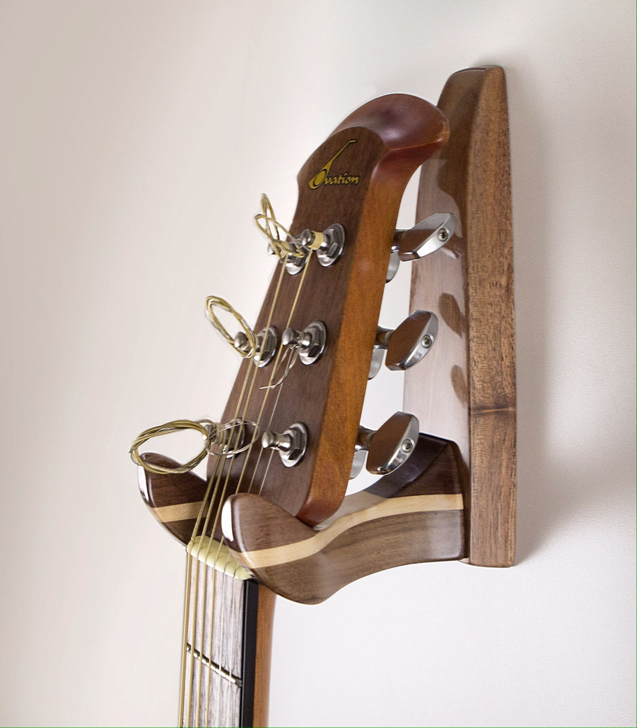 Stylish High Gloss Walnut And Maple Guitar Wall Hanger