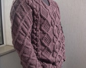 Handknittied cable men sweater, ready to ship