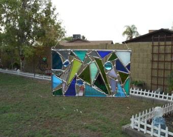 Stained Glass Panel - Suncatcher - Mosaic - Blue - Green - Purple - Small