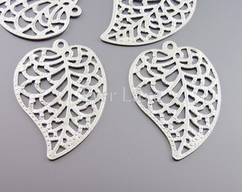 4 Matte silver elegant filigree leaf pendants, necklace jewelry  pendants, charms for earrings necklaces 1959-MR