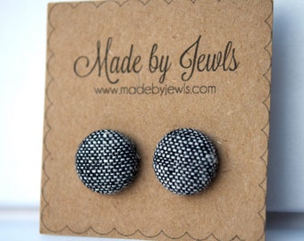 Fabric Button Earrings - Tweedy - Buy 3, get 1 FREE