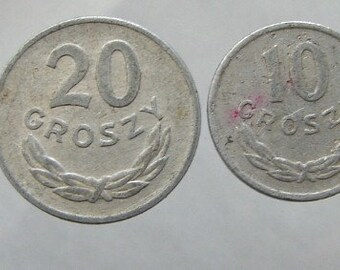 1949 POLAND EAGLE COINS over 60 Years Old Polish 50, 20, 10,  and 5 groszy Aluminum Coins Lot