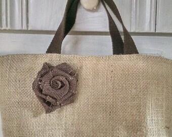 Natural Burlap  Tote Lunch Bag with burlap rose