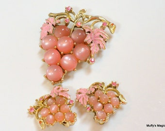 Pink Moonglow Grape Brooch Earrings Rhinestone Accent