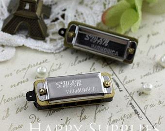 2 Mini Silver Vintage Style Harmonica Pendants (H01S)