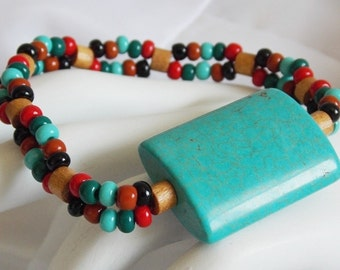 Turquoise Wood Red Green Brown Beaded Bracelet Stretch Cherokee