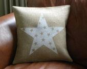 White burlap stars in star pillow cover