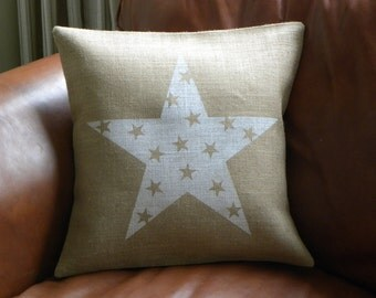 Burlap (hessian) white stars in star pillow cover