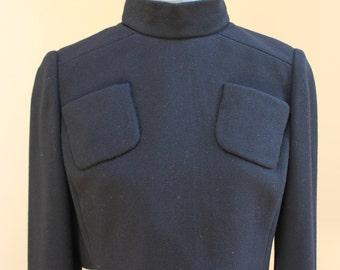Vintage 1960s Teal Traina Designer Black Crepe Long Sleeve Cropped Jacket