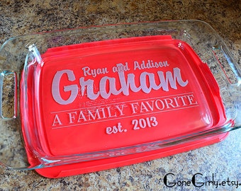 Last Name and Established Date Etched Bakeware. 9x13 Pyrex