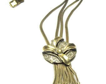 Lovely Victorian Botticelli Signed Double Chain Swag Tassel  Waterfall Necklace