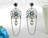 Something Blue, Something Blue Jewelry, Bridal chandelier earrings, Blue chandelier earrings, Blue wedding earrings, Wedding earrings
