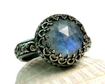 Blue Moonstone, Sterling Silver Jewelry, Black Renaissance Ring, Faceted Gemstone, Statement Piece, custom sized