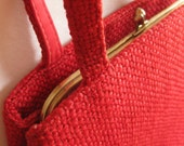Vintage jR Florida handbag/ red tweed/ red fabric handbag