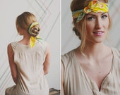 Graphic Yellow and Green Floral Print Headband