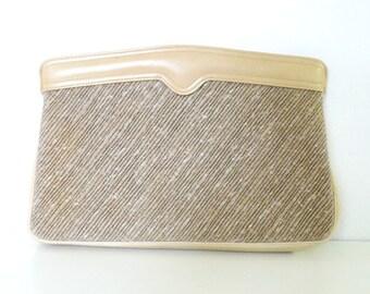 Vintage Morris Moskowitz Slub Linen Shoulder Bag or Clutch
