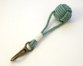 Monkey Fist Key Chain Whipped Green Cotton with Brass Clip