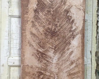 Fossil Fern Painting on Burlap