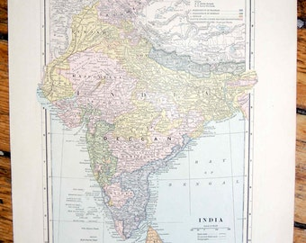 1887 india or china original antique map of the the world