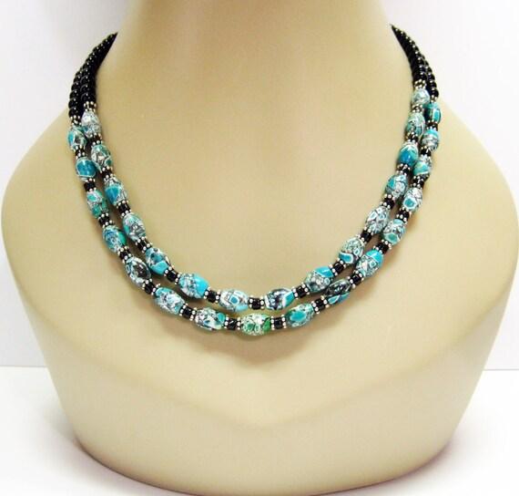 Sale Mosaic Turquoise and Black Onyx Necklace - Double Strand Necklace - Gemstone Necklace - Fashion Necklace - Fashion Jewelry - OOAK