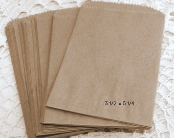25 Mini Paper Bags, Kraft Brown Paper Bags, Candy Bags, Treat Bags, Printable Bags, Weddings, Silverware Bags, Party Supplies, Party Favors