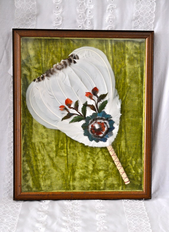 Vintage Native American Feather Fan In Shadow Box Large