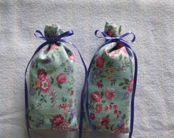 "Green 4""X2"" Sachet-'Hot Rose' Fragrance-Pink/Lavender/Green Floral Sachet-Purple Ribbon-Cotton Fabric Herbal Sachet-Cindy's Loft-530"