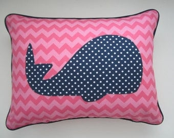A Bright Chevron Whale Pillow