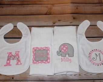 Personalized Bibs and Burp Cloths Gift Set Baby Girl Initial Name Elephant