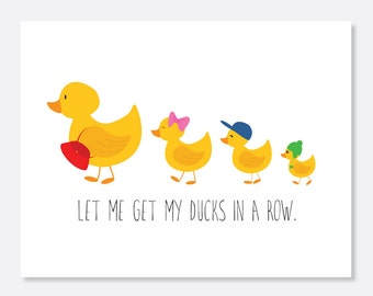 Ducks in a Row Belated Birthday Card, Belated Birthday Card, Birthday Card, Cute Birthday Card, Animal Birthday Card, Duck Birthday Card