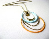 Bohemian long simple necklace orange turquoise - Spirit - boho chic jewelry hippie chic colorful