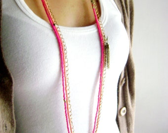 Boho style long necklace multi layered tassel -Pink peach long bohemian layered chains necklace simple tassel colorful boho chic