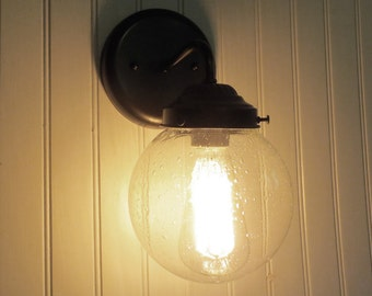 SEEDED Glass SCONCE Light with Edison Bulb