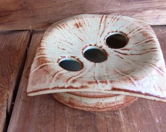Round 2-Piece Soap Dish, unique stoneware art
