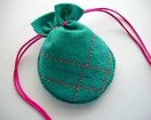 Teal Jewelry Bag Felt Gift Pouch Hand Embroidered Handsewn