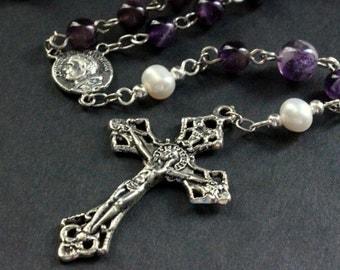 Amethyst Gemstone Rosary. Amethyst Rosary Beaded with Fresh Water Pearls. Handmade Rosary.