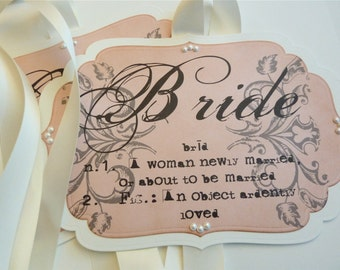 Wedding Chair Signs for Bride and Groom, Vintage Style Wedding Shower Decoration