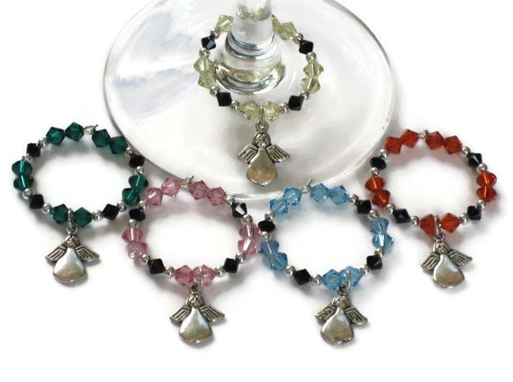Angel Wine Glass Charms, Gifts for Wine Lovers Housewarming Host Hostess Under 25, Wedding Gifts, Stocking Stuffers